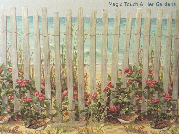 Beach Fence Wallpaper Border
