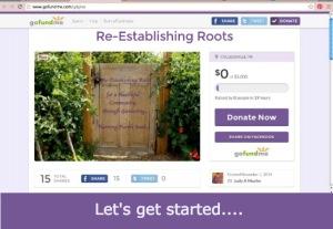 Let's get started Re-Establishing Roots